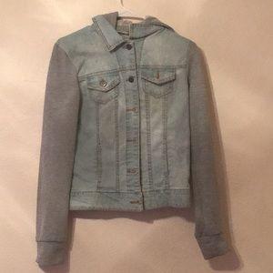 sweatshirt, blue jean jacket